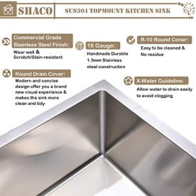 SHACO-Commercial-10-Inch-Deep-28-inch-Drop-in-Single-Bowl-Basin-Handmade-T304-Stainless-Steel-Top-Mount-Kitchen-Sink-16-Gauge-Brushed-Nickel-Kitchen-Sinks