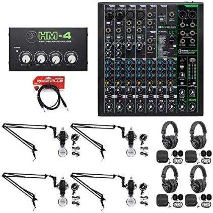 4-Person-Podcast-Podcasting-Recording-Kit-wMackie-ProFX10-v3-MixerBoom-Arms