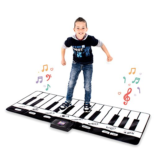 Abco Tech Giant Musical Piano Play Mat - Jumbo Sized Floor Keyboard Piano Activity Mat with Play, Record, Playback & Demo Modes - 8 Different Musical Instruments Sound Options - 24 Keys