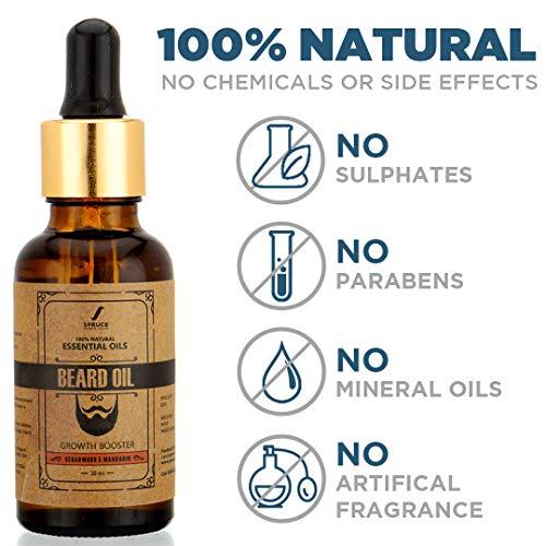 Spruce Shave Club Beard Oil For Beard Growth (30ml) - Cedarwood & Mandarin - 9 Natural Oils For Beard Growth 20
