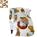 Custom Design Cozy Flannel Blanket Open Shells with Different Type of Pearls Wealth Ancient Gemstone of The Sea Print Lightweight Blanket 60'x50' Multicolor