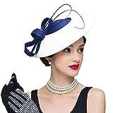 FADVES Fascinators Pillbox Hat Weddings Women Straw Fedora Vintage Sinamay Base Hats Blue