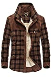 Mr.Stream Men's Outdoor Casual Vintage Long Sleeve Plaid Flannel Button Down Shirt Jacket XL Red Coffee