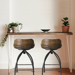 FIVEGIVEN Rustic Industrial Counter Stool 24 Inch Bar Stools with Backs  Swivel Counter Height for Kitchen Counter Wood and Metal Brown