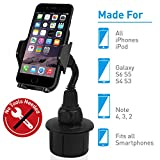 Macally Adjustable Automobile Cup Holder Phone Mount for iPhone Xs XS Max XR X 8 8+ 7 7 Plus 6s Plus 6s SE Samsung Galaxy S9 S9+ S8 S7 Edge S6 S5 Note 5, Xperia iPod, Smartphones, MP3, GPS (MCUPMP)