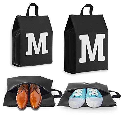 Shoe Bags for Travel for Men and Women - Personalized Initial - 4pk (Letter M)