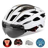 Shinmax Adults Bike Helmet,Bicycle Helmet CPSC/CE Safety Standard Cycling/Climbing Helmet/MTB/BMX Adjustable Helmet with Removable Shield Visor/Safty Rear Led Light for Road&Mountain Men&Women