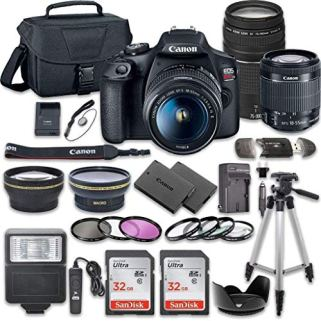 Canon-EOS-Rebel-T7-DSLR-Camera-Bundle-with-Canon-EF-S-18-55mm-f35-56-is-II-Lens-Canon-EF-75-300mm-f4-56-III-Lens-2pc-SanDisk-32GB-Memory-Cards-Accessory-Kit