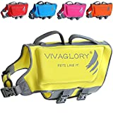 Vivaglory Dog Life Jacket, Neoprene Life Jackets for Pets, Skin-Friendly, with Dual Rescue Handles and Superior Buoyancy, Lemon Yellow, Large