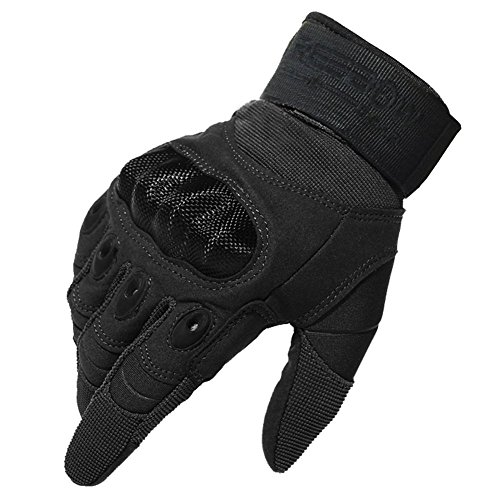 Reebow Gear Military Hard Knuckle Tactical Gloves Full Finger for Army Gear Outdoor Sport Work Shooting Paintball Hunting Riding Motorcycle Black M