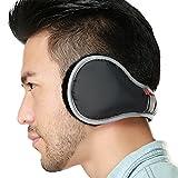 Ear Warmers Waterproof Unisex Adjustable Fleece Earmuffs for Men Women Winter Ear Muffs with Reflective Stripe (Black)