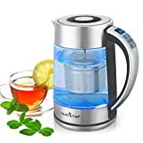 Digital Hot Water Glass Kettle - 1.7L Portable Easy Pour Teapot Boiler - Electric Coffee Brewer Tea Heater with Stainless Steel Inner Pot, Filter, Adjustable Temperature Control - NutriChef PKWTK75