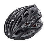 Gonex Adult Bike Helmet, Cycling Road Helmet with Safety Light, Adjustable 58-62cm, 24 Integrated Flow Vents(All Black)