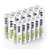 EBL 24 Sets Rechargeable Batteries (AA 2800mAh 12 Counts and AAA 1100mAh 12 Counts)