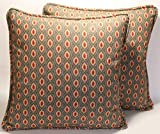 """A set of 2 18"""" Annie Selke Sema Taupe Leaf Pattern Decorative Throw Pillow Covers"""