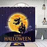 Halloween Treat or Trick Shower Curtain, Witch Flying Over The Moon to Castle in Gothic Forest,Polyester Fabric Shower Curtain Set with 15.7x23.6in Flannel Non-Slip Floor Doormat Bath Rugs,69X70in