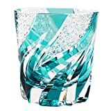Crystal Double Old Fashioned Glass Edo Kiriko Cut Glass Homura Fire Flame - Green [Japanese Crafts Sakura]
