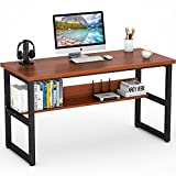 Tribesigns Computer Desk with Bookshelf Works as Office Desk Study Table Workstation for Home Office (57 inches, Cherry)
