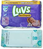Luvs Newborn Diapers (Size N - Less Than 10 lbs) (31ct) Bundle with Honest Baby Wipes (10ct) Travel Pack