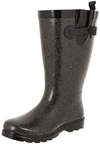 Capelli New York Ladies Allover Glitter Wide Calf Rain Boots Black Combo 7