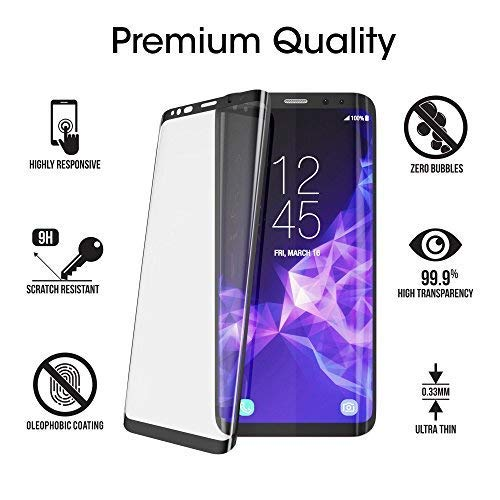 amFilm-Glass-Screen-Protector-for-Samsung-Galaxy-S9-3D-Curved-Tempered-Glass-Dot-Matrix-with-Easy-Installation-Tray-Case-Friendly-Black