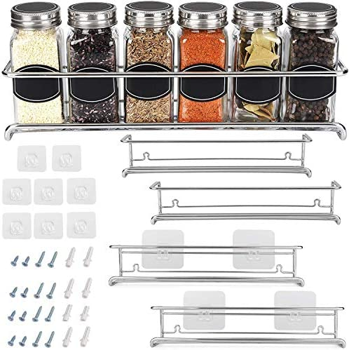 Spice Rack Organizer For Cabinet Door  Kitchen Pantry Organization And Storage   Set of 4 Chrome Tiered Hanging Shelf for Spice Jars and Seasonings   Door Mount, Wall Mounted, Under Sink Shelves