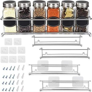 Spice Rack Organizer For Cabinet Door| Kitchen Pantry Organization And Storage | Set of 4 Chrome Tiered Hanging Shelf for Spice Jars and Seasonings | Door Mount, Wall Mounted, Under Sink Shelves
