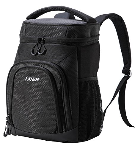 MIER Insulated Cooler Backpack Leakproof Soft Cooler for Lunch, Picnic, Hiking, Beach, Park, 24Can, Black