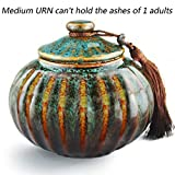 """MEILINXU 5.2"""" Medium-Sized, Funeral Urn by Midsize Cremation Urns for Human Ashes Adult- Hand Made in Ceramics and Hand-Fambe- Burial Urns At Home or in Niche at Columbarium(Orange and Blue Fambe Urn"""
