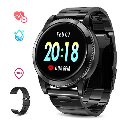GOKOO Smart Watch for Men, Sports Smartwatch Fitness Tracker with Pedometer Notifications Music Control Blood Pressure Heart Rate Monitor Camera Color Touch Screen for Android iOS (Black)