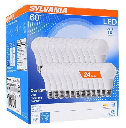 Sylvania Home Lighting 74766 Sylvania 60W Equivalent, LED Light Bulb, A19 Lamp, Efficient 8.5W, Bright White 5000K, 24 Pack, Piece
