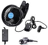 Alagoo 12V 6''Car Cooling Fan Automobile Vehicle Clip Fan Powerful Quiet Ventilation Electric Car Fans with Adjustable Clip & Cigarette Lighter Plug for Car/Vehicle