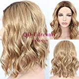 QD-Udreamy Synthetic Lace Front Wigs Dark Roots 8# Ombre Brown Short Wavy Glueless Lace Front Wigs Hair Realistic Looking for Women