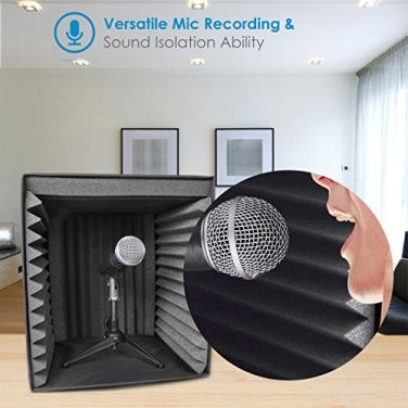 Sound-Isolation-Recording-Shield-Box-Microphone-Foam-Booth-Cube-Sound-Dampening-Filter-Audio-Acoustic-Noise-Isolator-Platform-Pads-w-Wedgie-Padding-Studio-Podcast-Vocal-Use-Pyle-PSIB27