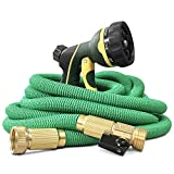 NGreen Expandable and Flexible Garden Hose - Strongest Triple Core Latex and Solid Brass Fittings Free Spray Nozzle 3/4 USA Standard Easy Storage Kink Free Water Hose (Green 25 FT)