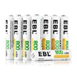 EBL AAA Rechargeable Batteries (12 Pack) 800mAh, Battery Storage Included