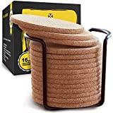 Natural Cork Coasters with Round Edge 4 inches 16pc Set with Metal Holder Storage Caddy - 1/5' Thick Plain Absorbent Heat-Resistant Reusable Saucers for Cold Drinks Wine Glasses Plants Cups & Mugs
