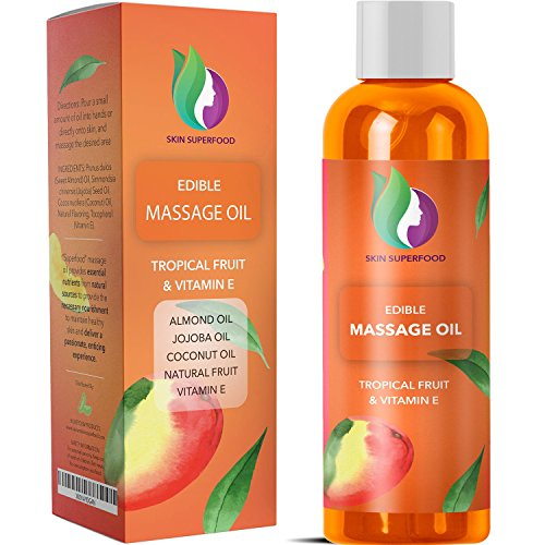 Natural Massage Oils for Body + Sex - Erotic Edible Carrier Oil with Pure Jojoba + Sweet Almond + Coconut Oil for Dry Skin Care - Tantalizing Tropical Oils for a Relaxing Sensual Massage for Couples