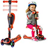 S SKIDEE Scooter for Kids with Folding Seat - 2-in-1Scooter for Kids with Folding/Removable Seat - 2 in 1 Adjustable Height, 3 LED Light Wheels, Kick Scooter for Girls & Boys (Orange, Scooter)