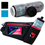 Georo Fit Hydration Running Belt With 22oz Insulated Water Bottle | Fanny Waist Pack | Fuel Belt For Men and Women Fits Iphone X 6 7 8 Plus