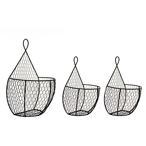 J Miles CO Hanging Display Storage Baskets - Wall Hanging Units for Flowers, Fruits and Veggies, Decorations, and More (Black, 1 Big 1 Small)