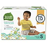 Seventh Generation Baby Diapers for Sensitive Skin, Animal Prints, Size 5, 115 Count (Packaging May Vary)