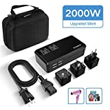 ECOACE 2000W Voltage Converter with 4 USB Ports,Set Down 220V to 110V Power Converter for Hair Dryer/Straightener/Curling Iron,International Travel Adapter for UK/AU/US/EU(Exclusive) (2000W-Upgraded)