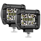 LED Pods Light, Wayup 2Pcs 4 Inch 120W LED Cubes Lights Spot Flood Combo Quad Row Light Bar Off Road LED Driving Lights for Truck Tractor Jeep ATV UTV 4x4 Boat Motorcycle, 2 Years Warranty