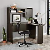 Mainstays Student Desk - Home Office Bedroom Furniture Indoor Desk - Easy Glide Accessory Drawer (Desk Only, Rodeo Oak) (L-Shaped Desk, Espresso)
