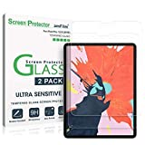 amFilm Glass Screen Protector for iPad Pro 12.9 inch (2 Pack) (2018 Model, 3rd Generation Only), Tempered Glass, Ultra Sensitive, Face ID and Apple Pencil Compatible (2 Pack)
