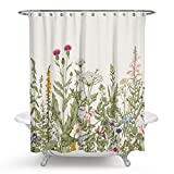 Chengsan Floral Shower Curtain Vintage Floral Border Herbs and Wild Flowers Botanical Engraving Style Colorful Field Vegetation Polyester Fabric (72x72 inch, 6)