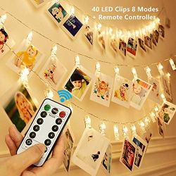 KingYue 40 LED Photo Clip String Lights, 8 Modes Fairy String Lights with Remote & Timer Function, Home/Party/Christmas Decor Lights for Hanging Photos Pictures, Cards, Memos and Artwork, Warm White