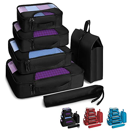 Veken 6 Set Packing Cubes, Travel Luggage Organizers with Laundry Bag &...