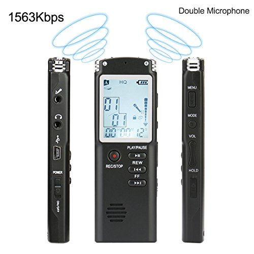 Digital Voice Recorder, FecPecu 8GB 1536Kbps Multifunctional Dictaphone HD Recording Double Microphone/Noise Cancelling/Voice Activated MP3 Dgital Audio Player for Class, Lectures, Interviews (FVRT60)